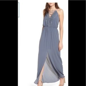 Wayf Posie Maxi Grey Grisaille gown size small